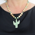 Cactus lime ceramic and wood necklace