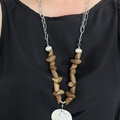 Woodland beaded grey and white chain and pendant necklace