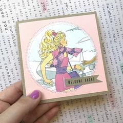 'Welcome back' retro barbie card