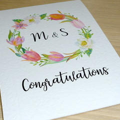 Personalised Wedding Engagement Anniversary card - Floral Wreath