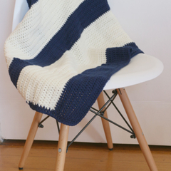 Crocheted Baby Blanket in 100% Wool. Coloured Navy and Cream and lovely and soft