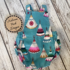 Romper/ Playsuit Baby Boy/ Girl Colourful Teepees Size 6-12 mths