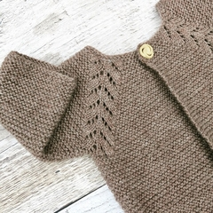 Gorgeous Hand Knitted Cardigan in Natural Brown Pure Wool, fits 3-4 years