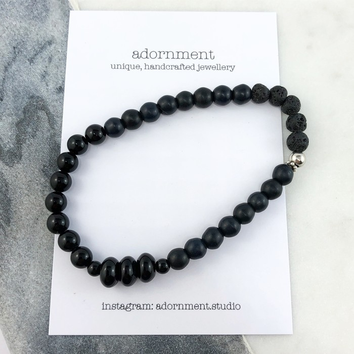 bracelet silver men matte bali amazon onyx sterling beads com dp and s mens black