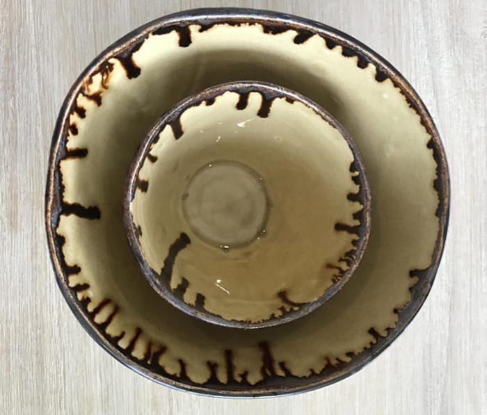 Medium Ceramic Bowls - Set of 2 Slip Cast Bowls | stoneware clay