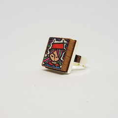 Headline Series : Cathy Original Ink  on Paper on Tile Adjustable Ring
