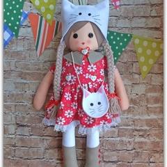 Doll, Rag Doll, Softie Doll, Girl Doll, Handmade, Gift