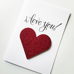 Ruby red scarlet heart glitter I love you Valentine's Day card