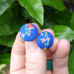 Flower earrings, stud earrings, statement earrings, button earrings, fabric stud