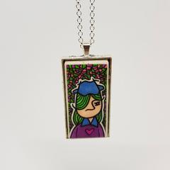 Headline Series : Melissa Ink on Paper on Tile Necklace