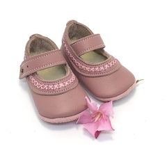 Dusty Pink Soft Soled Leather Baby Shoes. Baby Girl Shoes. Mary Jane