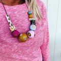 "The Red Essy ""FIESTA!"" hand-painted wooden necklace"