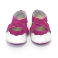 Hot Pink and White Soft Soled Leather Baby Shoes. Baby Girl Shoes. Mary Jane