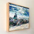 "Original semi-abstract painting - ""Coastal no.30"" 30x30cm framed."