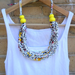 T-shirt yarn necklace, statement necklace, chunky necklace, knitted necklace