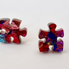Puzzle studs - Sparkly glitter puzzle studs - Laser cut acrylic   earrings - ASD
