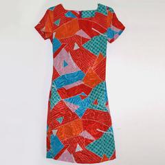 retro print dress with hidden floral print