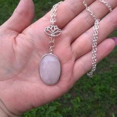 Lotus Necklace, Rose Quartz, Cabachon Gemstone Necklace, Necklaces, Rose Quartz