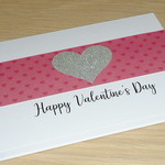Valentines Day card- pink and silver