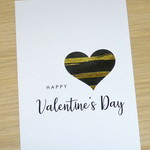 Valentines Day card- black & gold heart