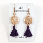 Handcrafted polymer clay mini tassel earrings with rose gold plated hooks