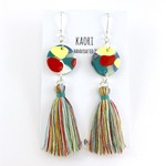 Handcrafted polymer clay statement tassel earrings with sterling silver hooks