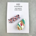 Two badge / pin set- handcrafted polymer clay in white, pink and green