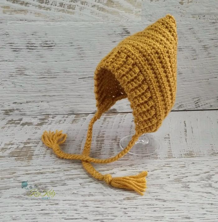 Vintage Mustard Newborn Crochet Baby Pixie Bonnet Beanie Hat Photo Prop ... 8734609f0ad