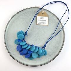 Handcrafted polymer clay adjustable necklace in cobalt and sky blue