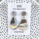 Handcrafted polymer clay stud dangle earrings- pastel sparkle
