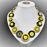Button necklace - Yellow and Black
