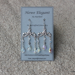 Swarovski Crystal AB chandelier, Sterling Silver, dangle earring