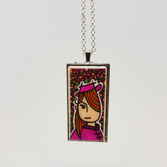 Headline Series : Tracy Ink on Paper on Tile Necklace
