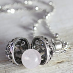 Rose Quartz Necklace, Wish Box Necklace, Attract Love, Silver Orb Necklace