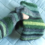 Mitts, Fingerless, Woman's, Wool, Mismatched, Green, Hand Knitted, Welted Cuff