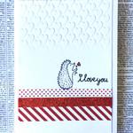 Cute Valentine 'I Love You' Hedgehog C6 Handmade Card