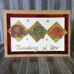 'Thinking of You' Blank Kraft Card with Elephants and Gold Details