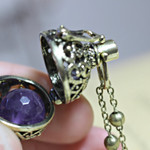 Amethyst Necklace, February Birthstone, Bola Locket, Wish Box Necklace