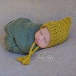 Vintage Mustard Newborn Crochet Baby Pixie Bonnet Beanie Hat Photo Prop