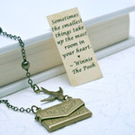 Friendship Necklace, Envelope Necklace, Winnie the Pooh Quote Necklace