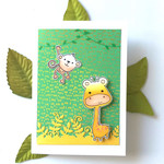 Jungle Critters Giraffe & Monkey Handmade Blank C6 Card - *Customisable*