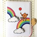 Rainbow Monkey Cute Handmade C6 Blank Card *Customisable*