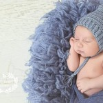 Vintage Grey Newborn Crochet Baby Pixie Bonnet Beanie Hat Photo Prop