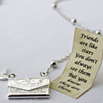 Letter Locket Necklace, Friends are Like Stars Envelope Necklace, Friend Gift