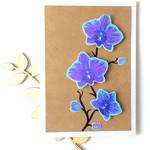 Blue Orchids Handmade Blank C6 Card *Customisable*