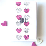 Faceted Geo Hearts 'XOXO' Love Valentine Handmade C6 Card