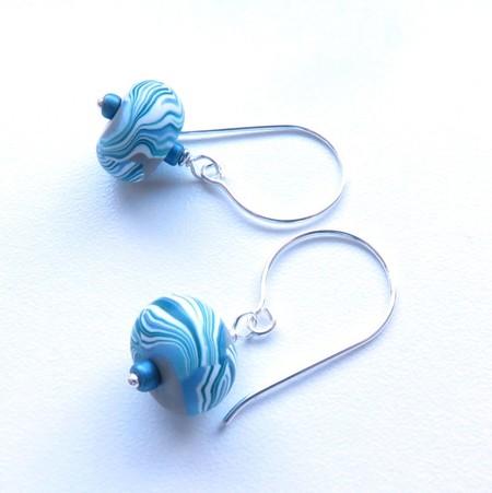 Swirl drop blue green earrings