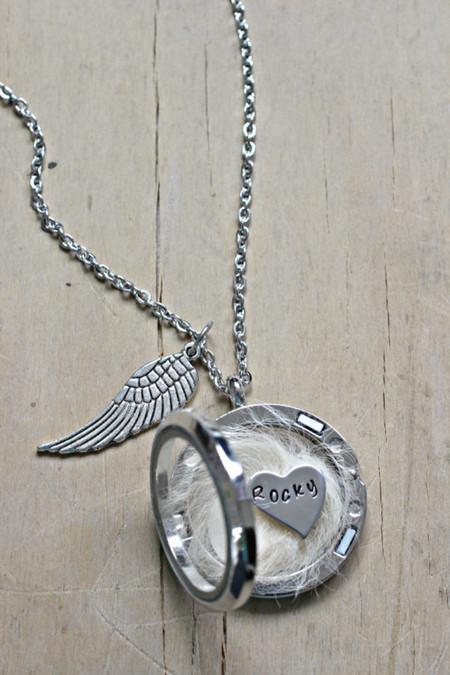 Pet loss Necklace, Lock of Hair Necklace, Pet memorial gift