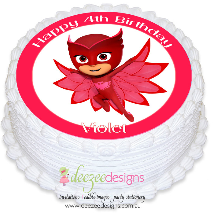 PJ Masks Owlette Round Edible Icing Cake Topper