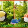Sushi / Sushi Ornament / Crochet Sushi / Crochet Sushi Ornament